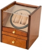 2+4 Walnut Dual Watch Winder Box AC/DC & Battery Operated w/ Drawer
